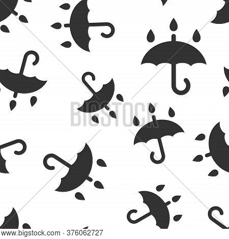 Umbrella Icon In Flat Style. Parasol Vector Illustration On White Isolated Background. Canopy Seamle