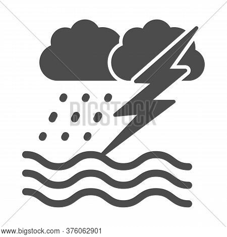 Ocean Windstorm With Rain And Lightning Solid Icon, Nautical Concept, Ocean Storm Sign On White Back