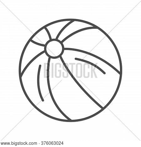Ball Thin Line Icon, Kids Toys Concept, Beachball Sign On White Background, Children Striped Ball Ic
