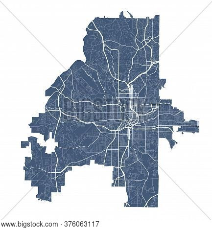 Atlanta Map. Detailed Vector Map Of Atlanta City Administrative Area. Dark Poster With Streets On Wh