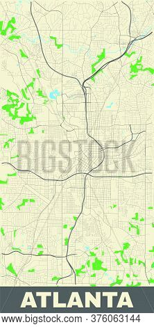 Atlanta Map. Vector Map Of Atlanta City Area. Poster With Street, Water And Woods On Yellow Backgrou