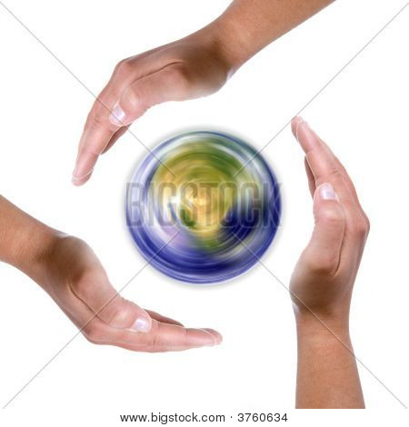 Hands Around Spinning Earth Globe - Nature And Environment Protection Concept