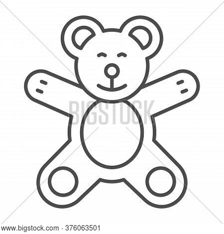 Teddy Bear Thin Line Icon, Kids Toys Concept, Plush Toy Sign On White Background, Little Teddy Bear