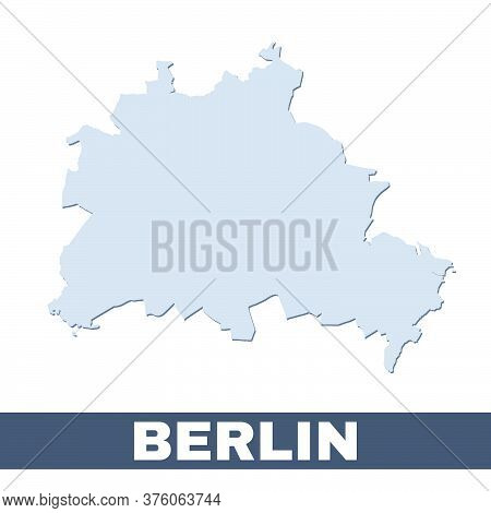 Berlin Outline Map. Vector Map Of Berlin City Area Within Its Borders. Grey With Shadow On White Bac
