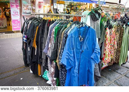 Seoul, South Korea - 1 June 2014, The Clothes Retails And Souvenirs Are Salled On The Walking Street