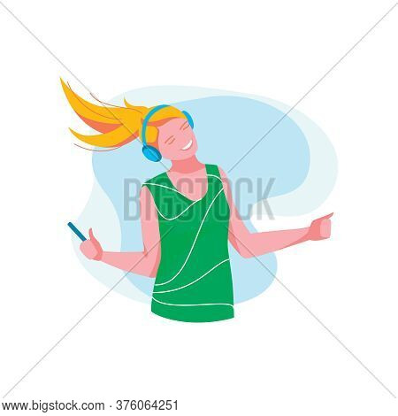Teenage Girl Listening Music With Headphones. Happy Girl Wearing Fashionable Clothes Enjoying Of Lis