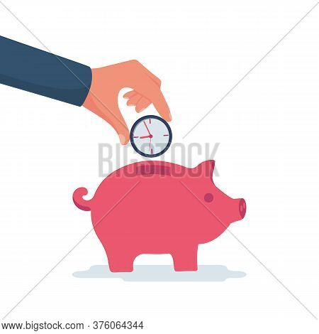 Time Savings. Man Holds A Watch In His Hand, Investing In The Future. The Disposition Of Time. Vecto