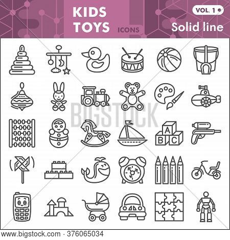Kids Toys Line Icon Set, Children Toys Symbols Collection Or Sketches. Baby Toy Linear Style Signs F