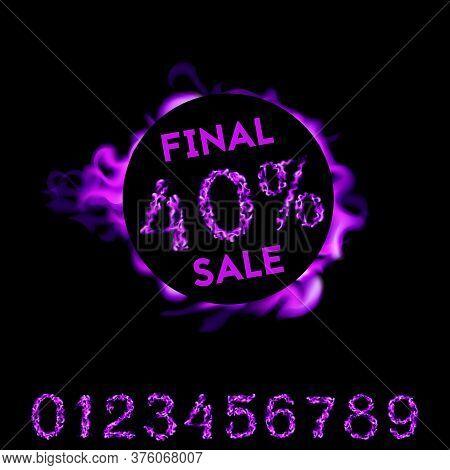 40 Percent Final Sale. Purple Fire Design On Black Background. Vector Illustration