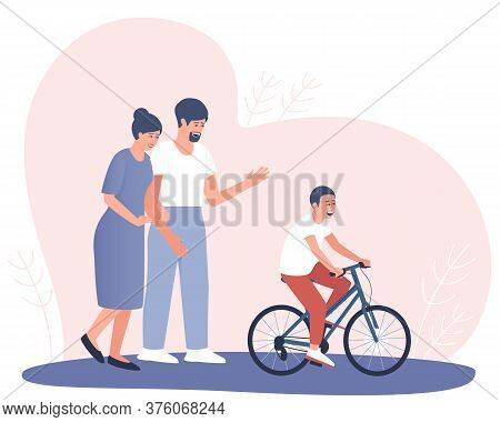 Parents Are Happy That The Child Has Learned To Ride A Bicycle. A Teenager Rides A Bicycle. A Couple