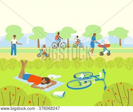People Are Resting In The Park. African American Family Rides Bicycles. Mom Walks With A Stroller. D