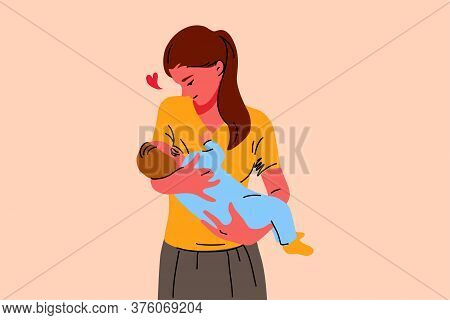 Motherhood, Childhood, Breastfeeding, Care, Love Concept. Young Happy Loving Woman Mother Cartoon Ch