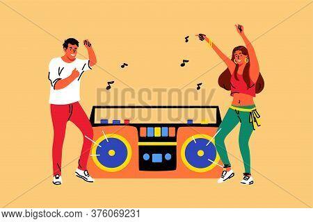 Music, Dance, Lifestyle, Recreation, Friendship Party Concept. Young Couple Man Woman Boyfriend Girl