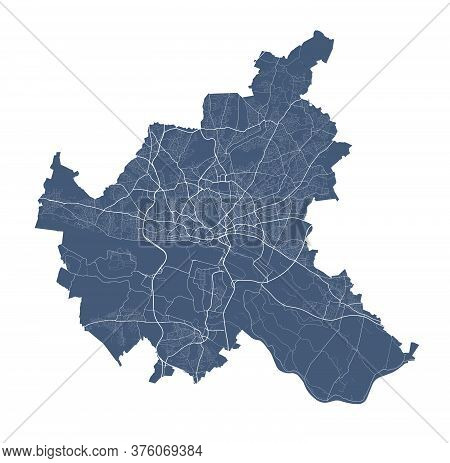 Hamburg Map. Detailed Vector Map Of Hamburg City Administrative Area. Dark Poster With Streets On Wh