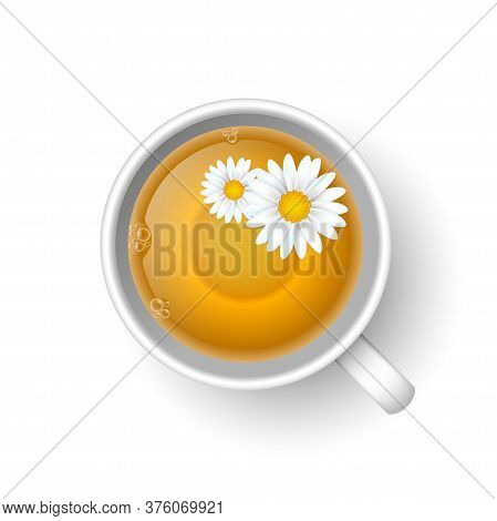 Realistic 3d Cup Of Hot Aromatic Healthy Herbal Chamomile Tea. A Teacup Top View With Flowers Of Cha