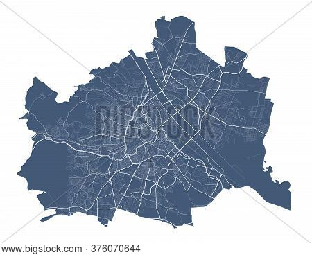 Vienna Map. Detailed Vector Map Of Vienna City Administrative Area. Dark Poster With Streets On Whit