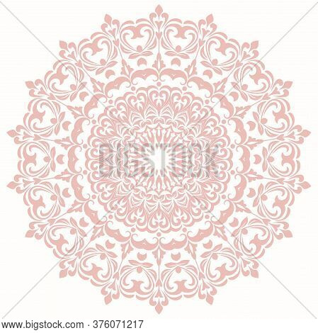 Oriental Vector Pattern With Arabesques And Floral Elements. Traditional Classic Pink Round Ornament