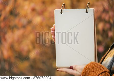 Autumn Mock Up.back To School. Blank White Notebook In The Girl Hands On Blurred Yellow Autumn Folia
