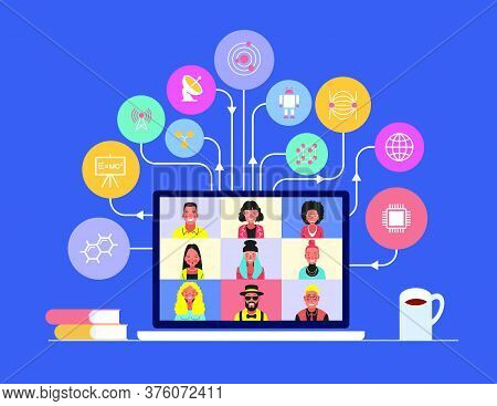 Cartoon Student On A Laptop Monitor Surrounded By Education Icons. E-learning For People. Online Men