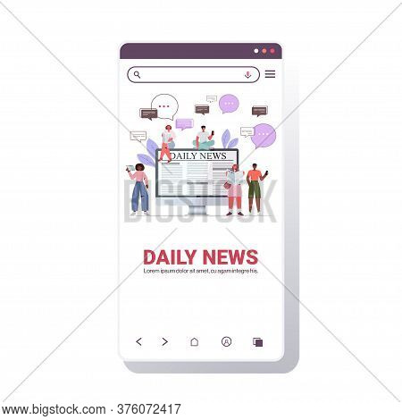 Mix Race People Reading Newspapers And Discussing Daily News Chat Bubble Communication Concept Smart