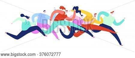 Outdoor Activities Concept. Sportsmen And Sportswomen Run Marathon. Group Of People Running Marathon