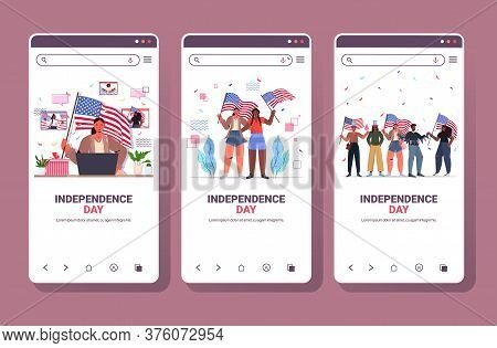 Set Mix Race People Holding Usa Flags Celebrating 4th Of July Independence Day Concept Smartphone Sc