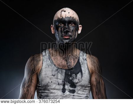 Photo Of Bald Mad Man With Dirty Make-up Effect