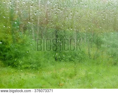 Window Pane During A Rain, Blurred Vegetation Through The Wet Glass Covered With Water Streams And D