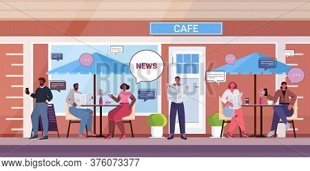 People Reading Newspapers Discussing Daily News During Coffee Break Chat Bubble Communication Concep