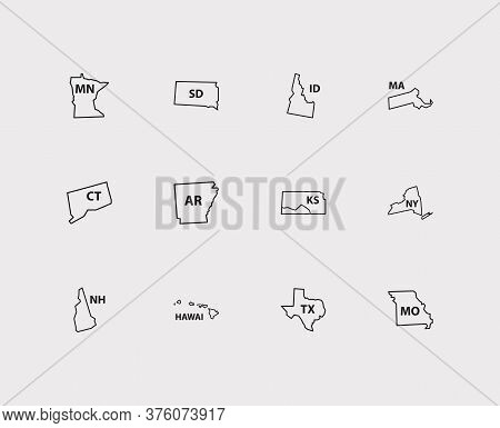 Geography Icons Set. America And Geography Icons With Trip, Connecticut And Hawai. Set Of Shape For