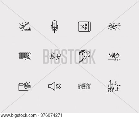 Musical Icons Set. Music Folder And Musical Icons With Megaphone, Trumpet And Shuffle Button. Set Of