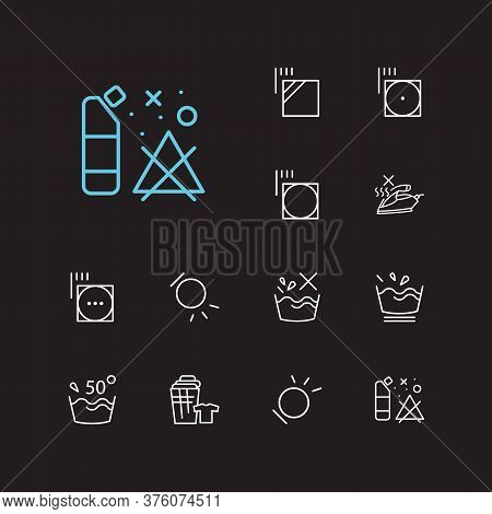 Laundry Icons Set. Delicate And Laundry Icons With No Steam, Temperature And Tumble Dry. Set Of The