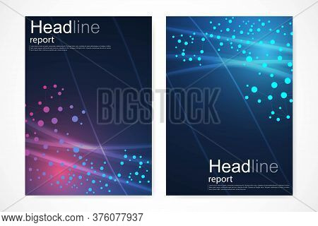 Scientific Brochure Design Template. Vector Flyer Layout, Molecular Structure With Connected Lines A
