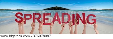 People Hands Holding Word Spreading, Ocean Background