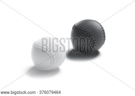 Blank Black And White Baseball Ball With Seam Mockup, Side View, 3d Rendering. Empty Globule Equipme