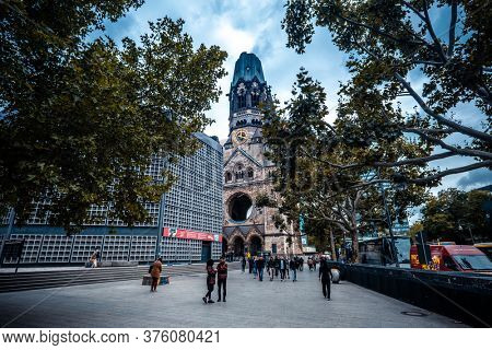 Berlin, Germany - 20 September 2019: Gedachtniskirche or Kaiser Wilhelm Memorial Church exterior in Berlin, Germany