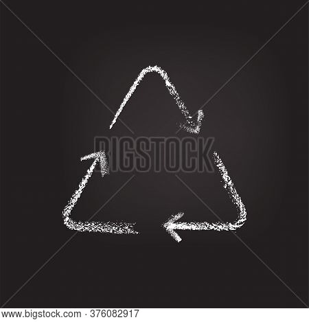 Ecology Recycling Chalk Sign Written On Dark Blackboard Background. Isolated Vector Recycle Arrow Sy
