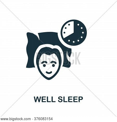 Well Sleep Icon. Monochrome Simple Well Sleep Icon For Templates, Web Design And Infographics