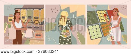 Vector Colorful Set With Illustrations Of Cute Young Girl With Eco Bag Buy Food In The Store Or Mark
