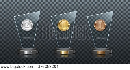 Glass Awards Realistic Vector Illustration. Crystal Prizes With Golden, Silver And Bronze Medals 3d