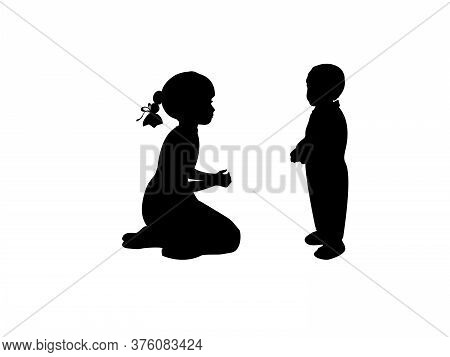 Silhouette Sister Takes Care Of Little Brother. Illustration Graphics Icon