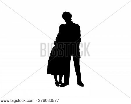 Silhouette Of An Adult Brother Hugs Sister. Illustration Graphics Icon