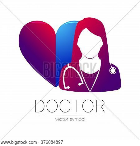 Female Doctor With Heart Vector Logotype. Medicine Identity And Concept. Logo For Clinic, Medical, P