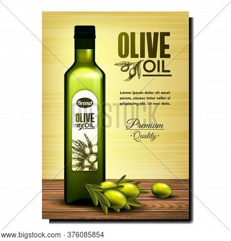 Olive Oil Product Bright Promotional Banner Vector. Olive Branch And Blank Package On Wooden Table,