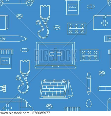 Doodle Seamless Pattern With Medical Equipment With White Lines On Blue Background. Stethoscope, The