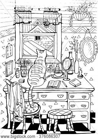 Coloring Book With A Cat In The Attic. Window Table Roof Flowers