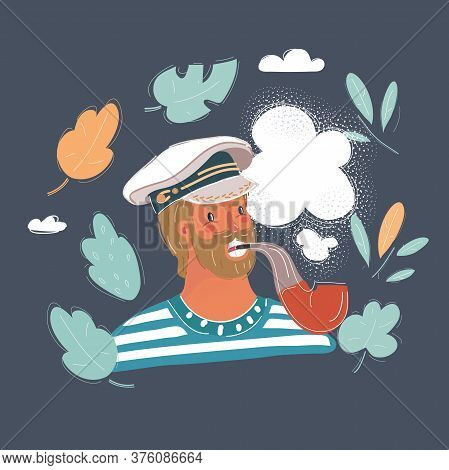 Vector Illustration Of Old Seaman. Young Man Wearing In Sail Cap And Smoke Tobbaco Pipe.