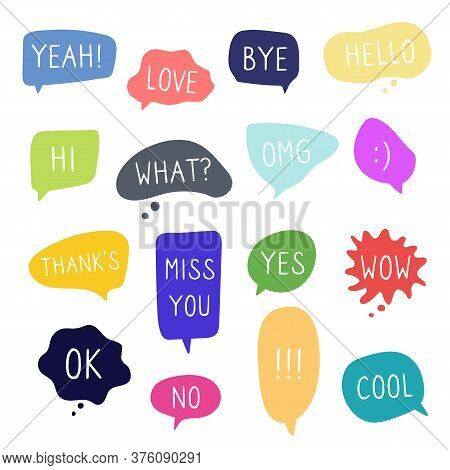 Bubble Speech And Talk Phrases. Online Chat Conversation Doodle Clouds With Different Words Comments