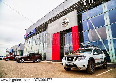 Kirov, Russia - May 07, 2019: Entrance In Showroom Of Dealership Nissan In Kirov