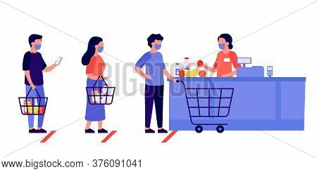 People Shopping, Queue. Social Distancing In Shop. Supermarket Store Counter Cashier And Buyers In P